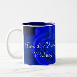 Blue Purple Rose Two-Tone Coffee Mug