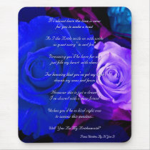Blue Purple Rose Will You Be My Bridesmaid Mouse Pad