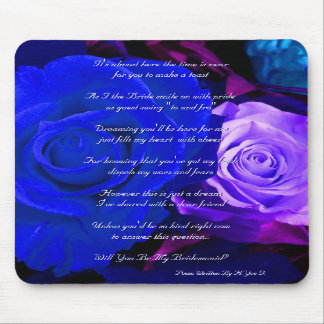 Blue Purple Rose Will You Be My Bridesmaid Mouse Pads