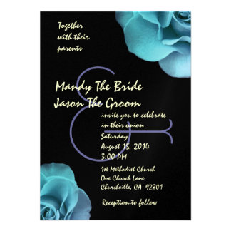 Blue Purple Roses and Black Wedding Template Announcements