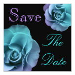"Blue Purple Roses Wedding Save Date Announcement 5.25"" Square Invitation Card"