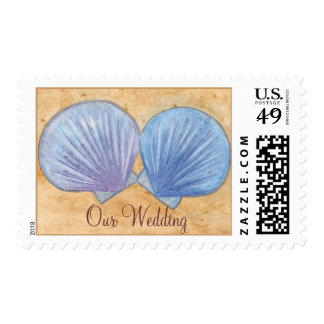 Blue Purple Seashells Our Wedding Postage Stamps