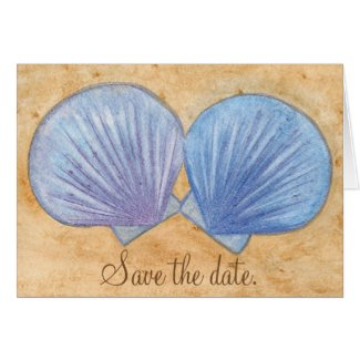 Blue Purple Seashells Sand Save the Date Note Card