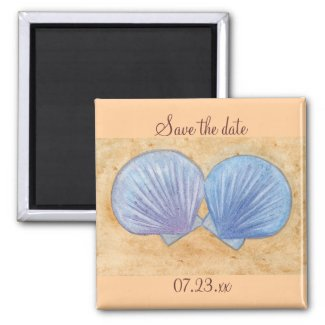 Blue Purple Seashells Save the date Magnets