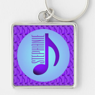 Blue Purple Single Note Elegant Pattern Silver-Colored Square Keychain