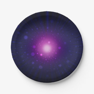 Blue Purple Space Galaxy Stars Abstract Paper Plate