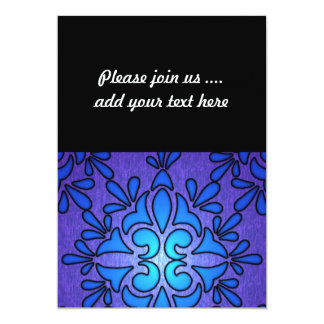 Blue Purple Stainded Glass Style Design 5x7 Paper Invitation Card