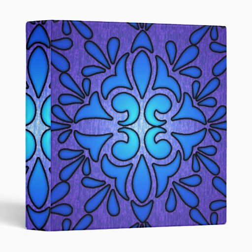 Blue Purple Stainded Glass Style Design Binders