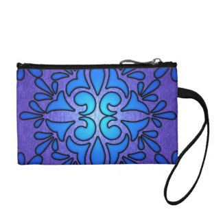 Blue Purple Stainded Glass Style Design Coin Wallet