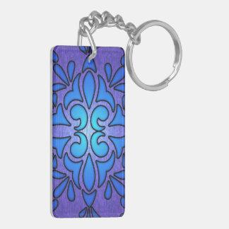 Blue Purple Stainded Glass Style Design Double-Sided Rectangular Acrylic Keychain