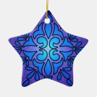Blue Purple Stainded Glass Style Design Double-Sided Star Ceramic Christmas Ornament