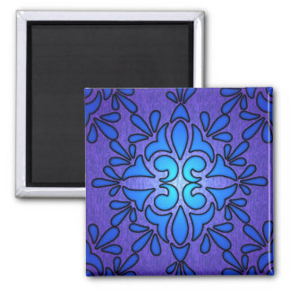 Blue Purple Stainded Glass Style Design Magnet