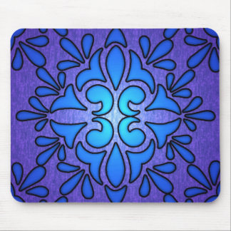 Blue Purple Stainded Glass Style Design Mouse Pad