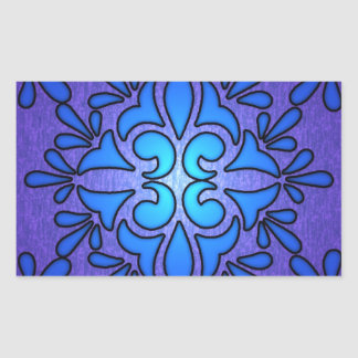Blue Purple Stainded Glass Style Design Rectangular Sticker