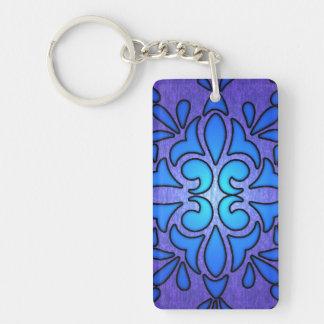 Blue Purple Stainded Glass Style Design Single-Sided Rectangular Acrylic Keychain