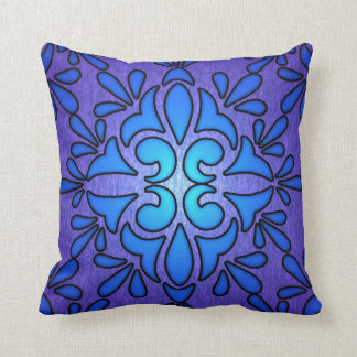 Blue Purple Stainded Glass Style Design Throw Pillow