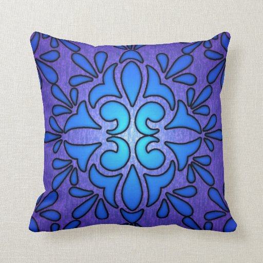 Blue Purple Throw Pillows : Blue Purple Stainded Glass Style Design Throw Pillows Zazzle