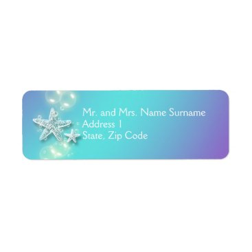 Beach Themed Blue purple starfish bubbles label