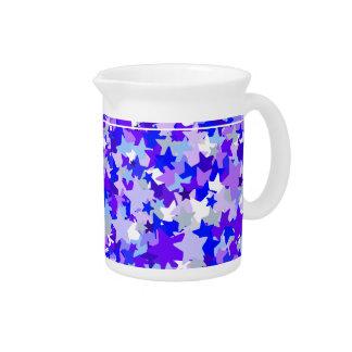 Blue & Purple Stars Confetti pattern Beverage Pitcher