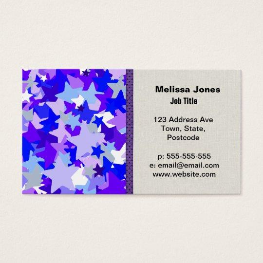 Blue & Purple Stars Confetti pattern Business Card