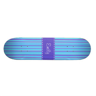 Blue & Purple Striped Skateboard Deck