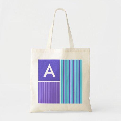 Blue & Purple Stripes Tote Bags