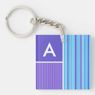 Blue & Purple Stripes Double-Sided Square Acrylic Keychain