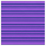 [ Thumbnail: Blue & Purple Stripes/Lines Pattern Fabric ]