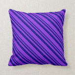 [ Thumbnail: Blue & Purple Stripes/Lines Pattern Throw Pillow ]