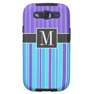 Blue & Purple Stripes; Striped Galaxy S3 Cover