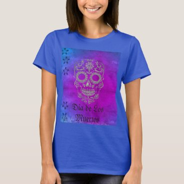 Halloween Themed Blue & Purple Sugar Skull/Day of the Dead T Shirt