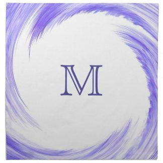 Blue Purple Swirl Modern Abstract Monogram Napkin
