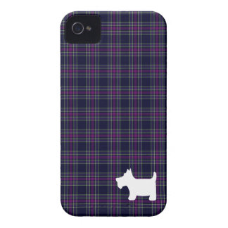 Blue & Purple Tartan Plaid with Scottie Dog iPhone 4 Case