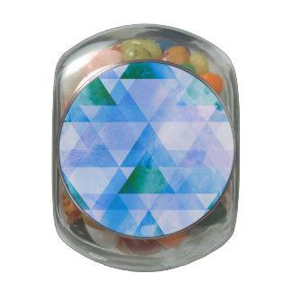 Blue & Purple Triangle Geometric Design Glass Candy Jar