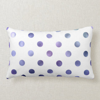 Blue Purple Violet Metallic Faux Foil Polka Dot Pillow