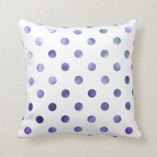 Blue Purple Violet Metallic Faux Foil Polka Dot Throw Pillows