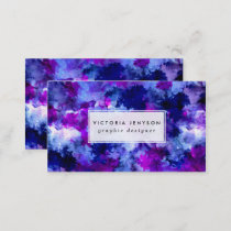 Blue purple watercolor brushstrokes modern business card
