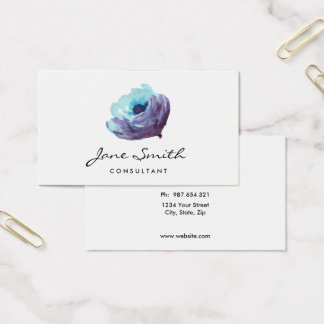 Blue Purple Watercolor Flower, Pretty Business Card