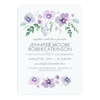 Blue Purple Watercolor Flowers Wedding Card