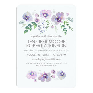 Blue Purple Watercolor Flowers Wedding Invitation