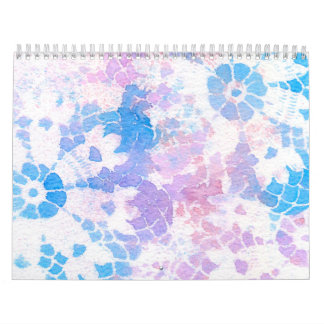 Blue Purple Watercolor Tie Dye Rainbow Calendar