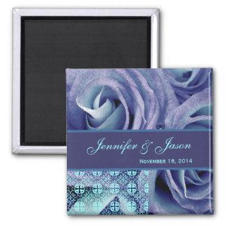 Blue & Purple Wedding Lace Rose Bouquet 2 Inch Square Magnet