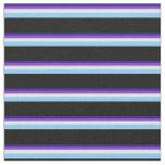 [ Thumbnail: Blue, Purple, White, Light Sky Blue & Black Fabric ]