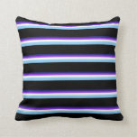 [ Thumbnail: Blue, Purple, White, Light Sky Blue & Black Pillow ]