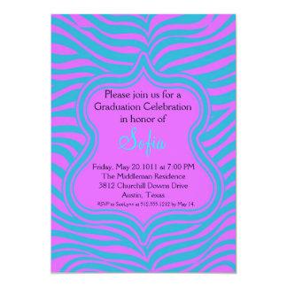 Blue & Purple Zebra Graduation Invitation