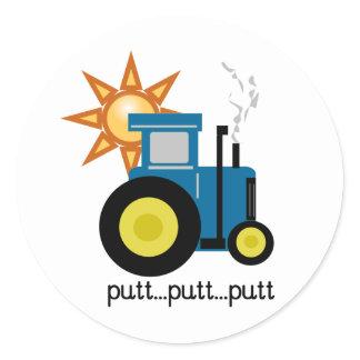 Blue Putt Putt Tractor Classic Round Sticker