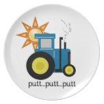 Blue Putt Putt Tractor Dinner Plates