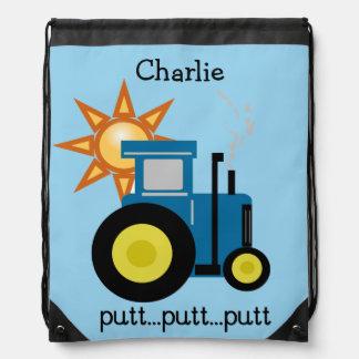 Blue Putt Putt Tractor Drawstring Backpack Bag
