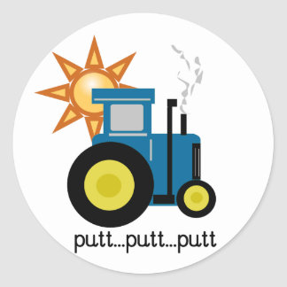Blue Putt Putt Tractor Tshirts and Gifts Classic Round Sticker