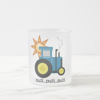 Blue Putt Putt Tractor Tshirts and Gifts Frosted Glass Coffee Mug